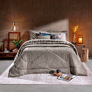 Edredom Casal Plush Peles Taupe - Hedrons