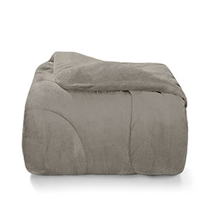 Edredom Queen Plush Inove Taupe - Hedrons